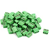 uxcell 50pcs 3 Position 3.5mm Pitch PCB Screw Terminal Block Connector