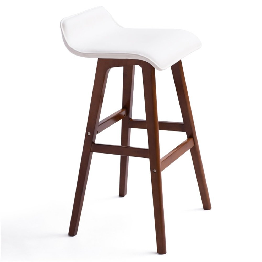 BROWN C Ling Shi Bar Chair Solid Wood Bar Stool,Nordic Simple Retro Style with Backrest Chair Bar High Stool Table Stool Non-redating and Lifting Dimensions -40x40x65cm 2 colors 4 Styles
