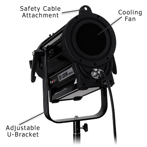 Fotodiox Pro DY-200w Tungsten Fresnel LED, High-Intensity LED Fresnel Light for Film & Television - with Remote Dimmable and Focusable Control, 12V AC Power Adapter, Light Stand bracket and Removable Barndoors, CRI > 85 by Fotodiox (Image #3)