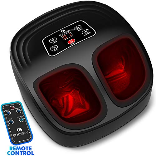 Shiatsu Foot Massager Machine with Heat - Electric Feet Massager Plantar Fasciitis Air Compression Deep Kneading Foot Massages for Neuropathy Muscle Relief Nerve Pain Therapy Spa (Black)