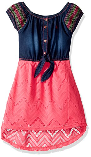 Limited Too Toddler Girls' Casual Dress, Texture Stripe Top with Stretch Denim Neon Pink, 4T - Ltd Denim