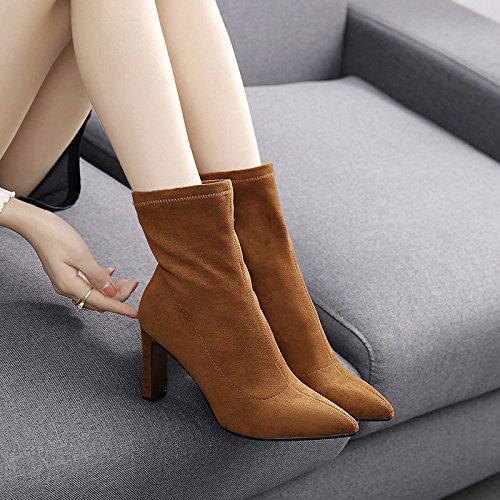 KPHY-das Mädchen fallen Stiefel Einfach und vielseitig Tipp High-Heel weibliche Schuhe und Stiefel weibliche High-Heel Stiefel mit Fett  Caramel fecf10