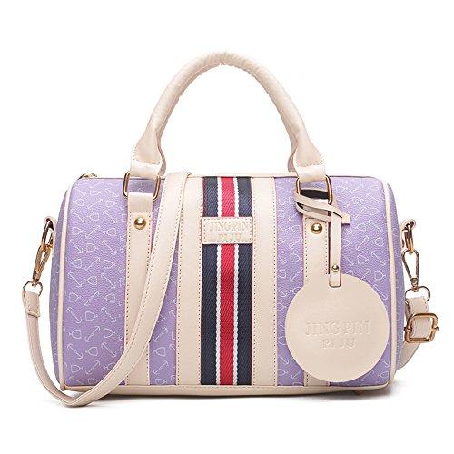 Gwqgz New Bag Lady Pu Leather Bag Simple Fashion, Pink Violet