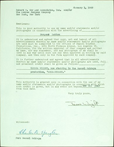 Teresa Wright Signed Jergens Lotion Contract (1949) (PSA/DNA)