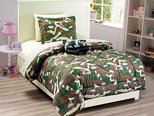 Twin Comforter Set Army Camouflage Green Brown Beige with Furry Pillow New ()