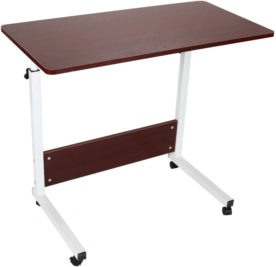 Tuscom Height Adjustable Sit-Stand Mobile Laptop Computer Desk Cart Home Can Be Raised and Lowered Mobile Computer Desk with Rolling Wheels 80cm40cm US Warehouse