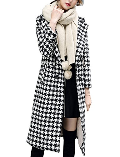 Yimoon Women's Houndstooth Wool-Blend Coat Double Breasted Lapel Walker Mid-Long Trench Coat (Black-White, Medium)