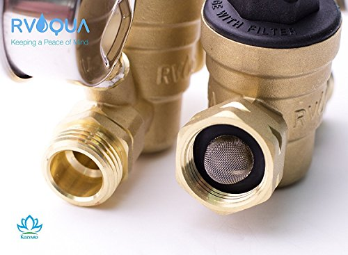 RVAQUA M11-45PSI Water Pressure Regulator for RV Camper - Brass Lead-Free Adjustable RV Water Pressure Reducer with 160 PSI Gauge and Inlet Stainless Screened Filter by Kozyvacu (Image #6)
