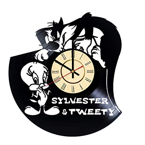Tweety Face (Tweety Bird And Sylvester Vinyl Wall Сlock Looney Tunes Gift Black Cat Wall Decor Home Living Room Wall Art Handmade Decorations)