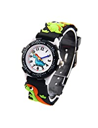 Kids Watch Teaching Watches 3D Elastic Strap Dinasour Pattern Watch For Boys - Black