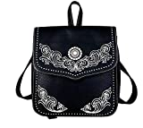 Embroidered Western Scroll Concho Backpack Purse (Black)