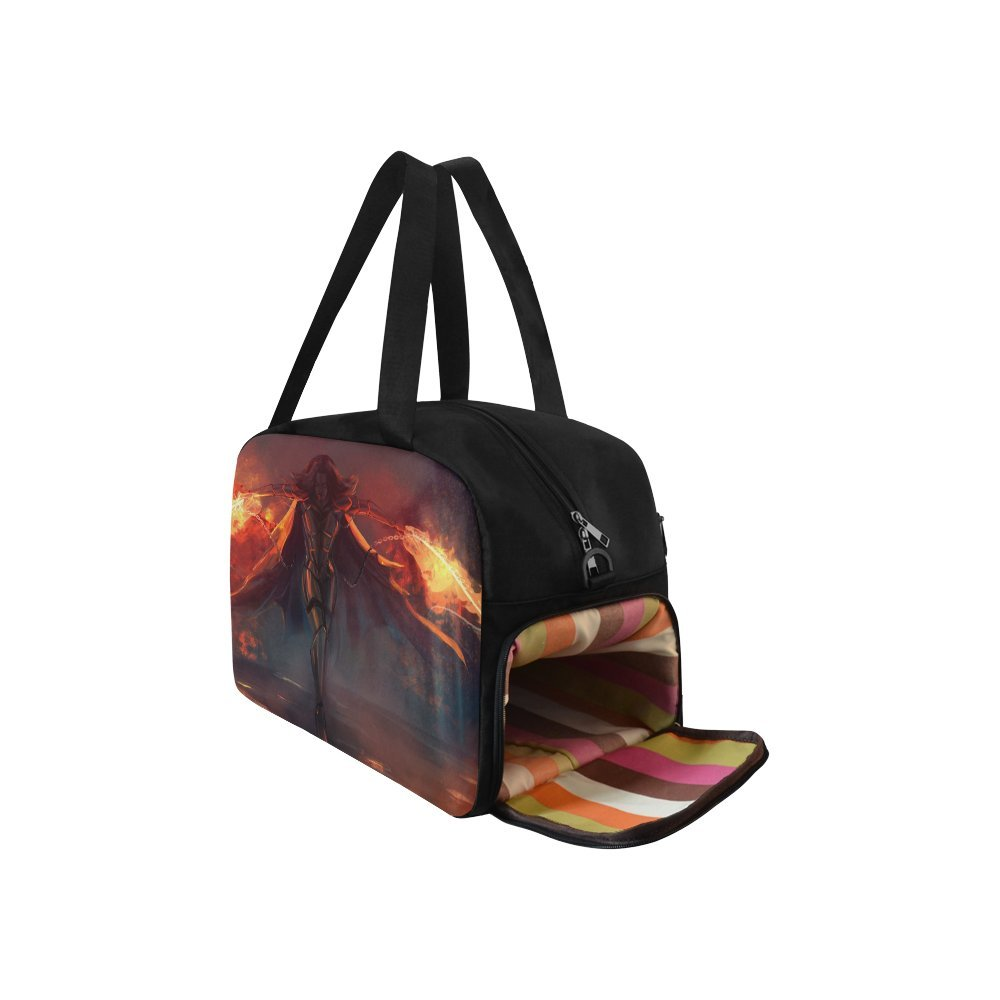 Unique Design Duffel Bag Fantasy Warrior Armored Woman Attack With Fire Travel Tote Bag Handbag Crossbody Luggage