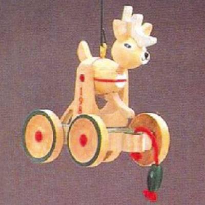 Reindeer Wood Childhood Ornaments 3rd in Series 1986 Hallmark Ornament QX4073