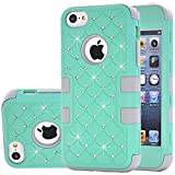 5c cases with gems - iphone 5C Case,Auker Heavy Duty Dual Layer Bling Mermaids Scales Shockproof Impact Resistant Non Slip PC Rubber Hybrid Protective Tough Silicon Bumper Case Cover for iphone 5C for Women/Men (Mint)