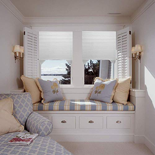 Vcamdo Cordless Light Filtering Pleated Fabric Shade Easy to Cut and Install with 6 Clips 36″x72″ – 3 Pack White Color