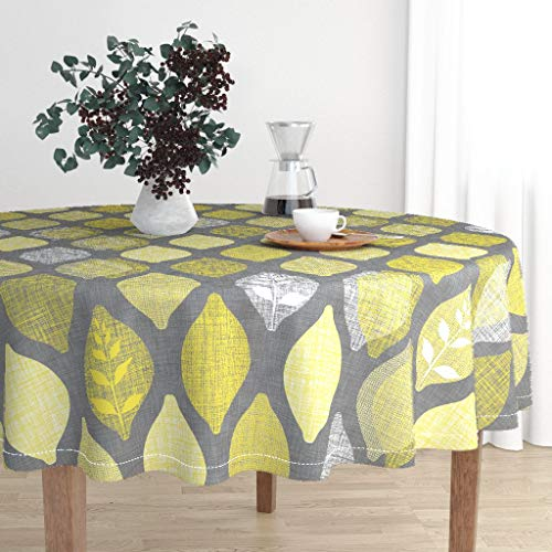 Roostery Round Tablecloth - Lemon Fruit Citrus Summer Tree Amalfi Grey by Spellstone - Cotton Sateen Tablecloth 70in from Roostery