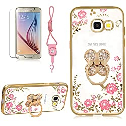 Case For Samsung Galaxy A5 2017(A520), Girlyard [Secret Garden] Clear Diamond Case Cover Gold Frame Rose Floral Butterfly Bling Shiny Glitter Plating Case with Clover 360 Degree Rotating Ring Stand