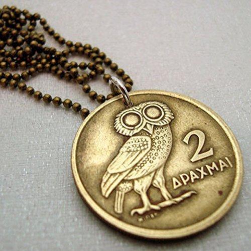 Greek OWL of Athena COIN NECKLACE, Owl necklace, Athena Owl ()