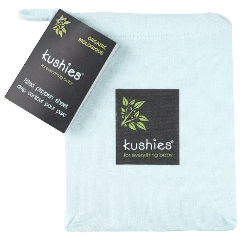 Kushies Organic Jersey Play Pen Fitted Sheet, Light Blue