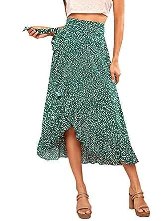 Verdusa Women's Waist Knot Leopard Print High Waist Wrap Split Skirt - Green - X-Small