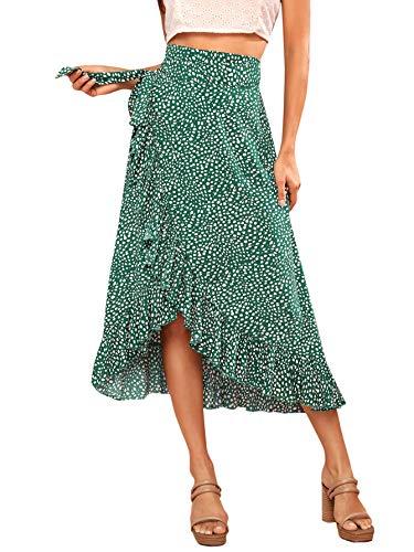 Verdusa Women's Waist Knot Leopard Print High Waist Wrap Split Skirt Green M