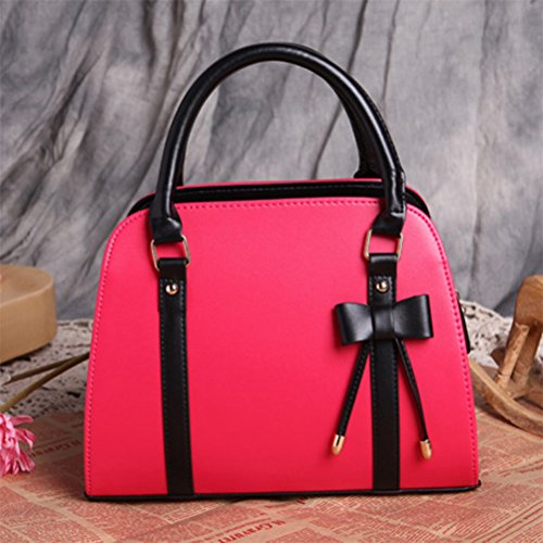 Bowknot Ladies Shoulder Yellow Messenger Handbag Leather Bag Red circle Crossbody Profusion Women Tote Rose zqntEt