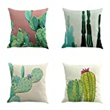 Pack of 4 Decorative Natural Cushion Cover Cotton Linen Throw Pillow Case Cover Sofa Home Décor ,18''18'',Cactus