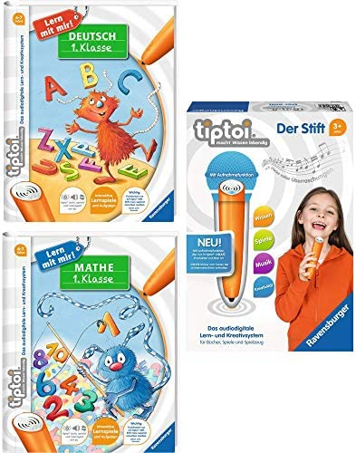 Ravensburger tiptoi® 3er Set Der Stift + Mathe 1. Klasse + Deutsch 1. Klasse