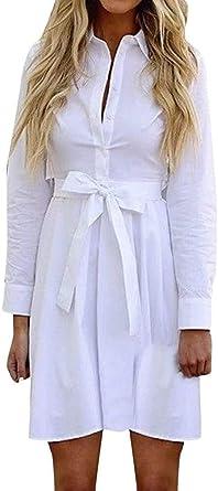Ropa De Época Botón De Apertura De La Correa De La Moda Niñas Camisa De Lino Color Sólido 2020 Fall Mini Vestido De Las Mujeres del Invierno Casual De Manga Larga: Amazon.es: