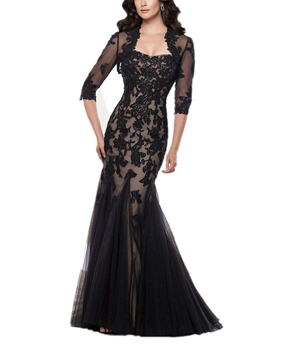 Black Yisha Bello Women's Lace Applique Beaded Long Tulle Mother of The Bride Dress with Jacket