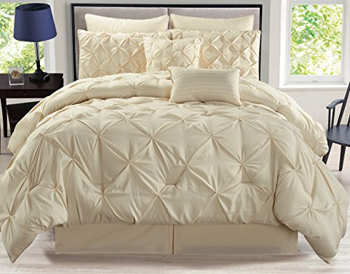 KingLinen 8 Piece Rochelle Pinched Pleat Ivory Comforter Set Queen