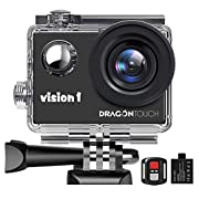 Dragon Touch 1080P Action Camera, Underwater 98ft Video Sports Cam with 2″ LCD Screen, Remote and Mounting Accessories Kits-Vision 1