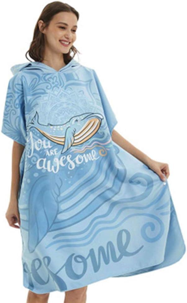 Jianghuayunchuanri Bata de baño Poncho Toalla De Baño Albornoz Toalla De Forma Rápida En Seco En Seco Agua Natación Buceo Playa con La Ballena Azul Actividades en el Interior y al Aire Libre