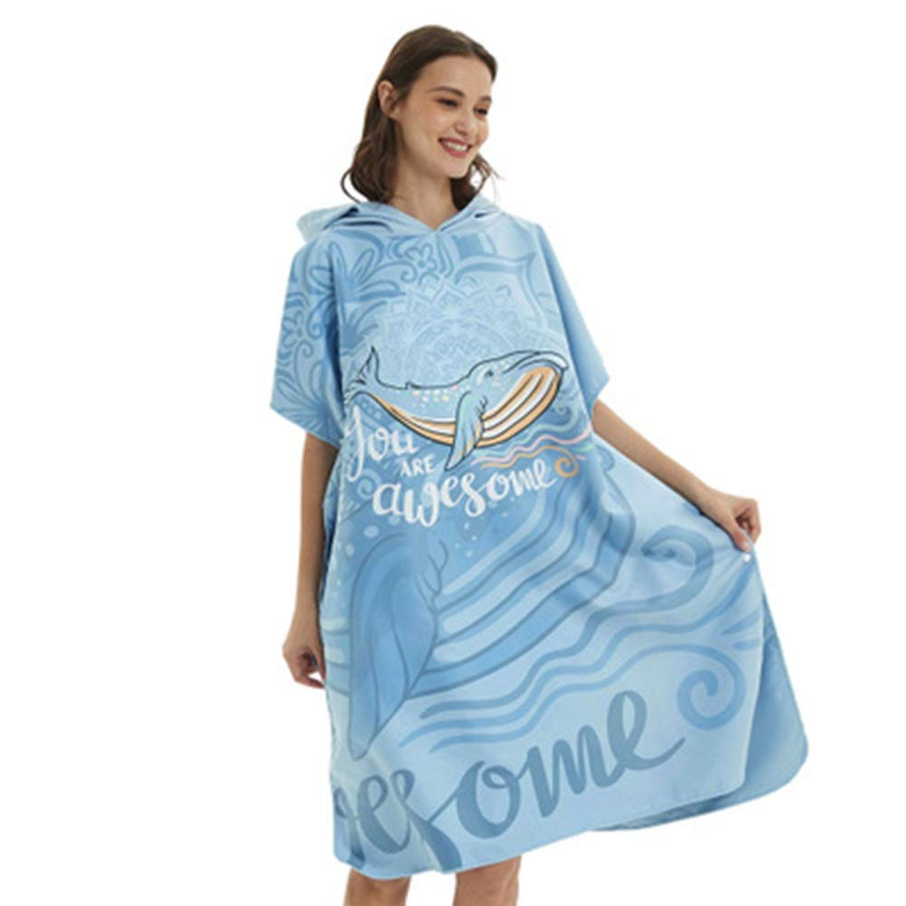 bluee Changing Bath Robe with Hood Bath Towel Bathrobe Microfiber Towel Can Be Worn Quickly Dry Water Swimming Diving Beach Free bluee Whale for Beach Surf Swim Triathlon (color   bluee, Size   One Size)
