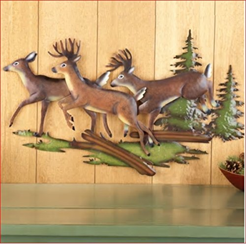 Pine Wall Sculpture - RUNNING DEER PINE TREE WOODS WALL ART METAL CABIN