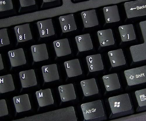 NON-TRANSPARENT KEYBOARD STICKER FOR LAPTOP TRADITIONAL PORTUGUESE DESKTOP WITH WHITE LETTERING AND BLACK BACKGROUND