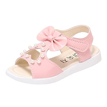 Kids Baby Girls Sandals Bowknot Pearl Roman Sandals Princess Shoes Sandals Bow Pearl Rhinestone Sandals Baby Girls Pink 9