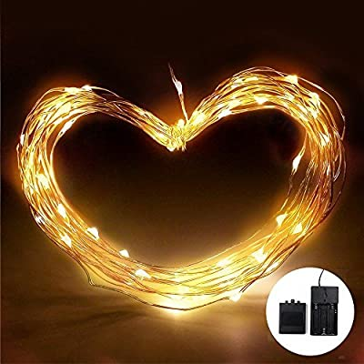 10ft Battery Powered 30 LEDs Fairy LED String Lights, Novelty Starry Starry Lights w/ Flexible Copper Wire for Festival, Holiday, Christmas, Wedding & Party, Warm White, Waterproof THL-11