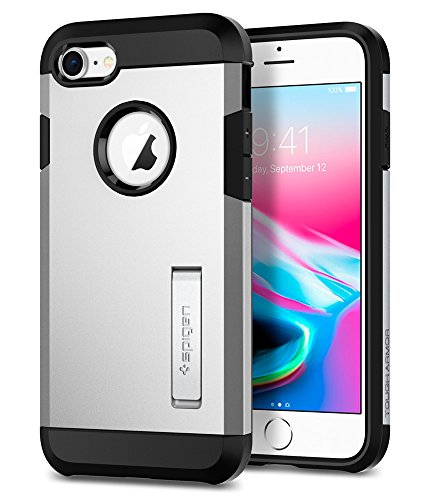 Spigen Tough Armor [2nd Generation] iPhone 8 Case/iPhone 7 Case with Kickstand and Heavy Duty Protection and Air Cushion Technology for Apple iPhone 8 (2017)/iPhone 7 (2016) - Satin Silver