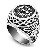 JAJAFOOK Stainless Steel Signet Muslim Islamic Ring Arabic Shahada Middle Eastern Size 8-13
