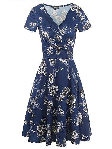 sandals Ykomi Womens Elegant Floral Casual A Line Short Sleeve V Neck Stretch Summer Dresses (XL, Blue Floral)