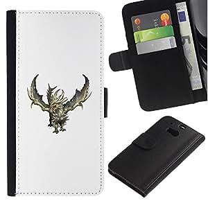 A-type (Dragón Blanco Verde Monster Fuego) Colorida Impresión Funda Cuero Monedero Caja Bolsa Cubierta Caja Piel Card Slots Para HTC One M8