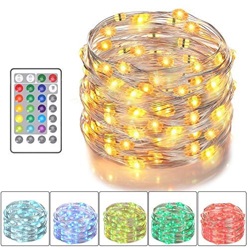 Asmader LED Fairy Lights, Battery Powered Multi Color Changing String Lights with Remote Control Waterproof Decorative Silver Wire Lights 16ft 50LEDs for Bedroom,Patio,Indoor,Party,Garden,16 -