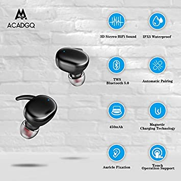 Wireless Bluetooth Earbuds ACADGQ True Wireless Earbuds Bluetooth 5.0 Waterproof Bluetooth Earbuds for Running TWS Bluetooth Earbuds Noise Canceling with Charging Case