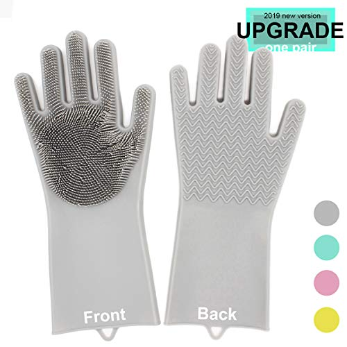 - One Pair Magic Silicone Gloves 13x6 inches Reusable Cleaning Brush Scrubber Heat Resistant Latex Gloves Great for Dish Washing Room Cleaning Pet Hair Care Grooming (grey)