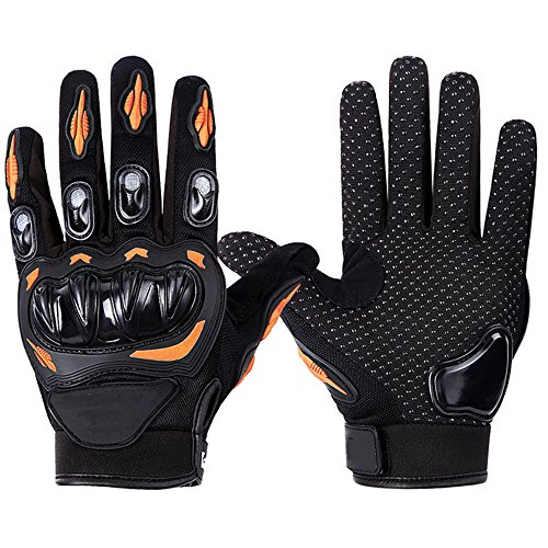 Tactical Gloves, Loyalfire Cycling Motorcycle Gloves with Military PVC Hard Knuckle Outdoor Gloves, for Hiking Camping Power sports Airsoft Paintball (Orange, L, US 9-9.5'')