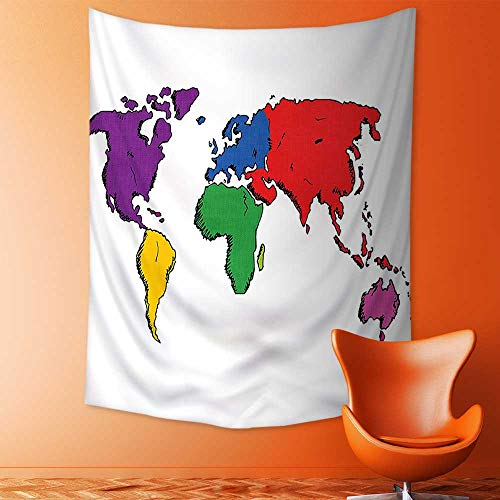aolankaili Tapestry Wall Hanging Decor Colorful Contemporary Illustration of World Map Image Where People Live Education Decor Home Hippie Bohemian Tapestry for Dorms