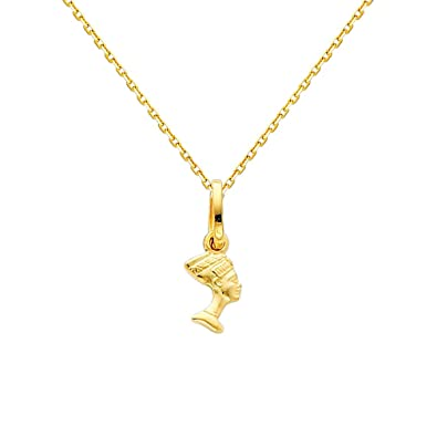 Amazon 14k yellow gold queen nefertiti charm pendant with 09mm amazon 14k yellow gold queen nefertiti charm pendant with 09mm oval angled cut rolo cable chain necklace 16 jewelry mozeypictures Choice Image