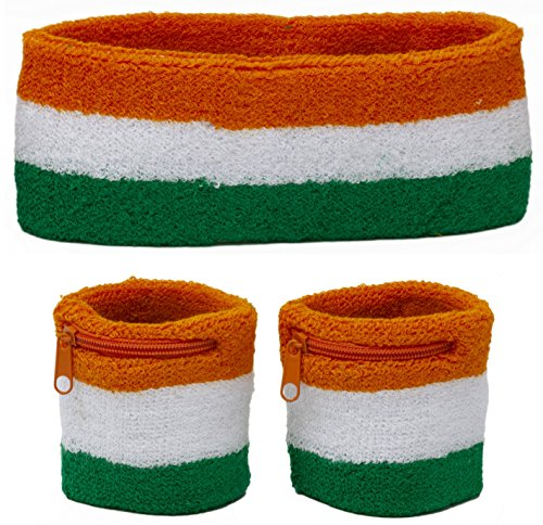 Funny Guy Mugs Orange White And Green Kids Sweatband Set (3-Pack: 2 Wristbands with Zipper + 1 Headband) ()