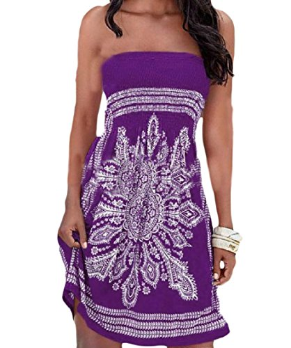 Coolred-femmes De Style Folk Élégant Robes Dos Nu Printemps Floral Bustier Violet